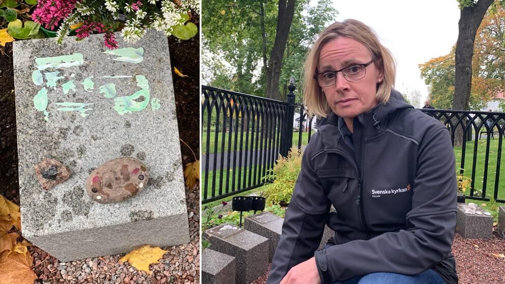 En kvinna och en gravsten