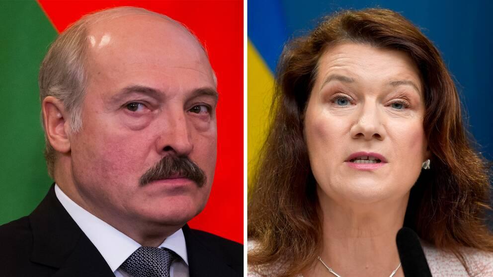 Alexander Lukasjenko. Till höger utrikesminister Ann Linde (S).