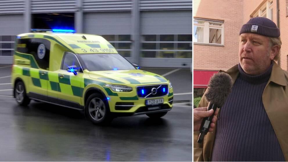 En ambulans under utryckning ihop med en bild på Henrik Johansson, ordförande i Ambulansförbundet.