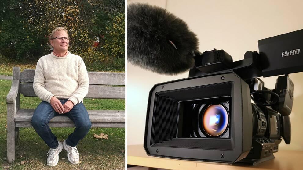 Collage. Vänster del: Christer Johansson sitter på en bänk utomhus. Höger del: En videokamera.