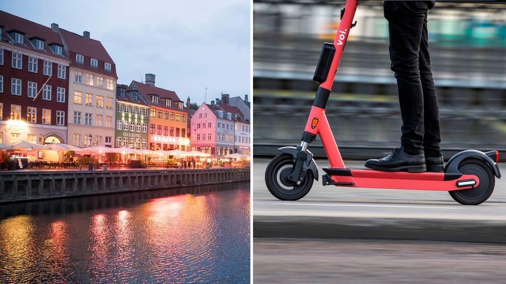 Köpenhamn, till höger en elsparkcykel.