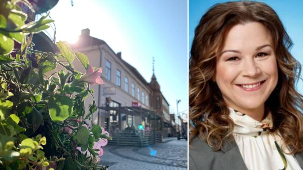 Till vänster: en bild med blommor i förgrunden och solen som skiner fram bakom ett hus, på en gågata i Halmstad, till höger: ett foto på meteorolog Josefine Bergstedt