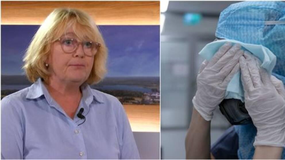 Till vänster: Finansregionrådet Irene Svenonius (M). Till höger en vårdanställd som har full skyddsutrustning och torkar sig i ansiktet med en trasa.