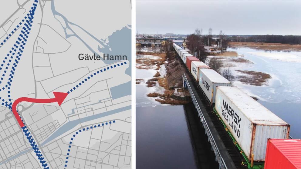 Karta över nya järnvägsspåret till Gävle hamn.