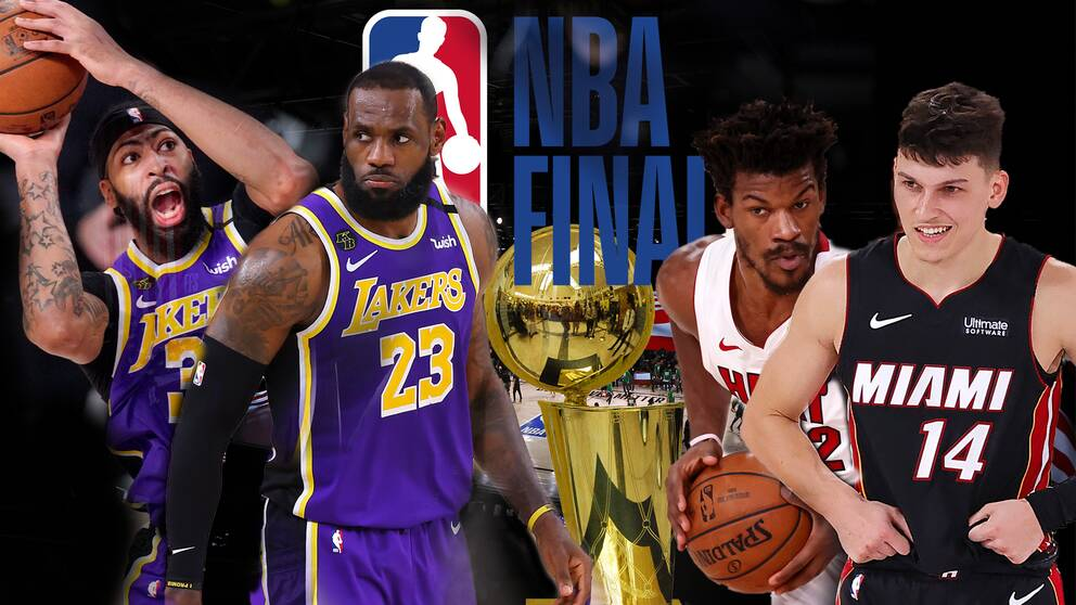 Från vänster: Anthony Davis och LeBron James i Los Angeles Lakers samt Jimmy Butler och Tyler Herro i Miami Heat.