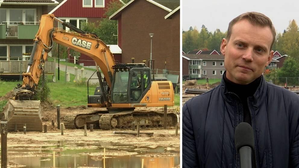 en grävskopa och en man framför kameran med en mikrofon.