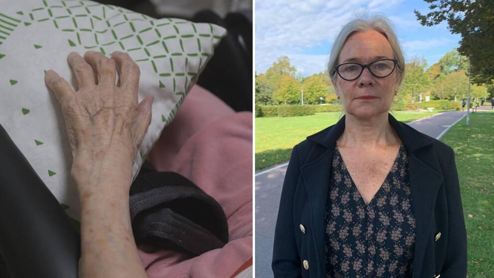 Äldre persons hand till vänster, kvinna till höger.