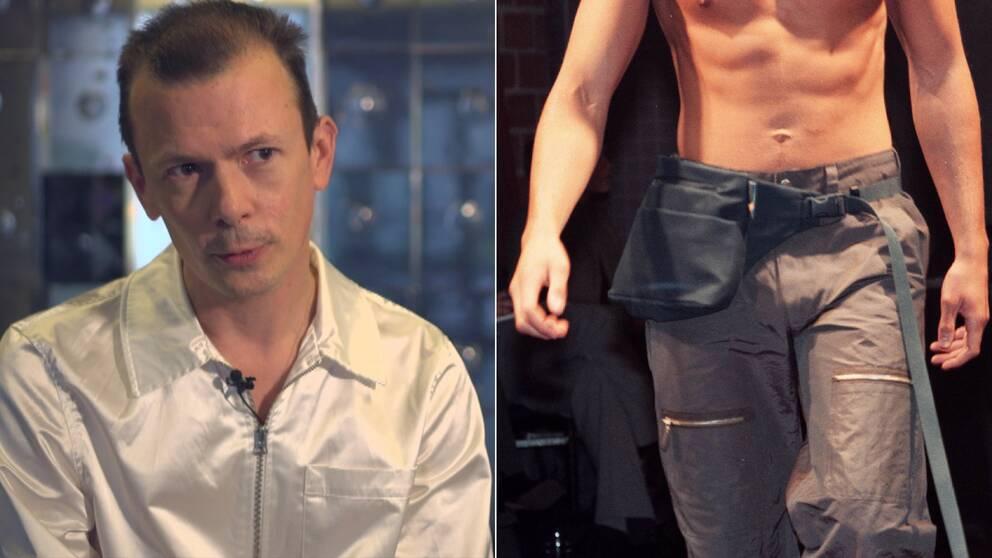 Philip Warkander, lektor i modevetenskap och en modell som visar en magväska.