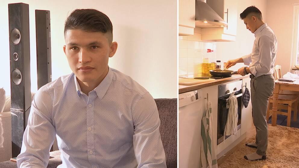 två bilder på ung man i skjorta – ett porträtt, och en där han lagar mat