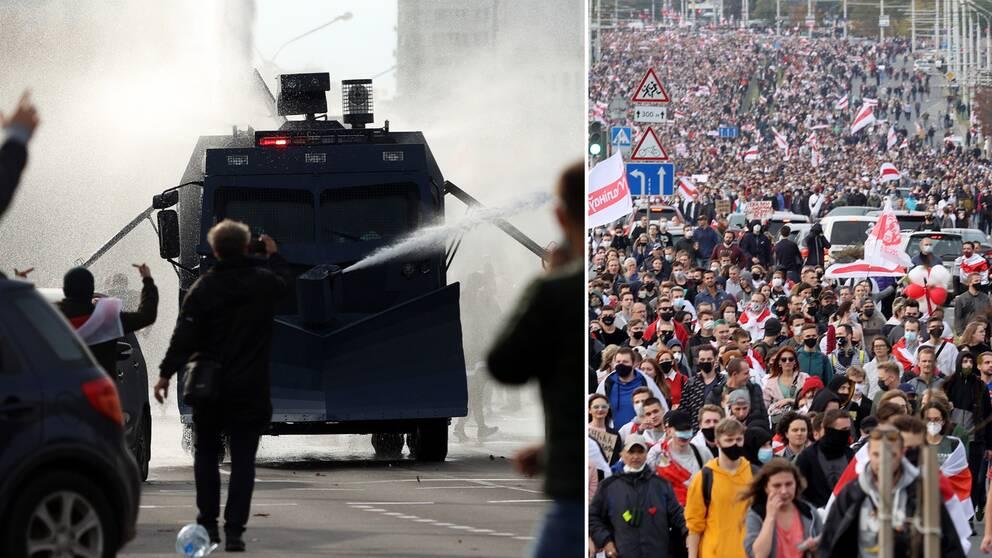 Bilden visar när polisen använder vattenkanon mot demonstranter i Belarus. Till höger syns tusentals personer gå i ett demonstrationståg genom Minsk.