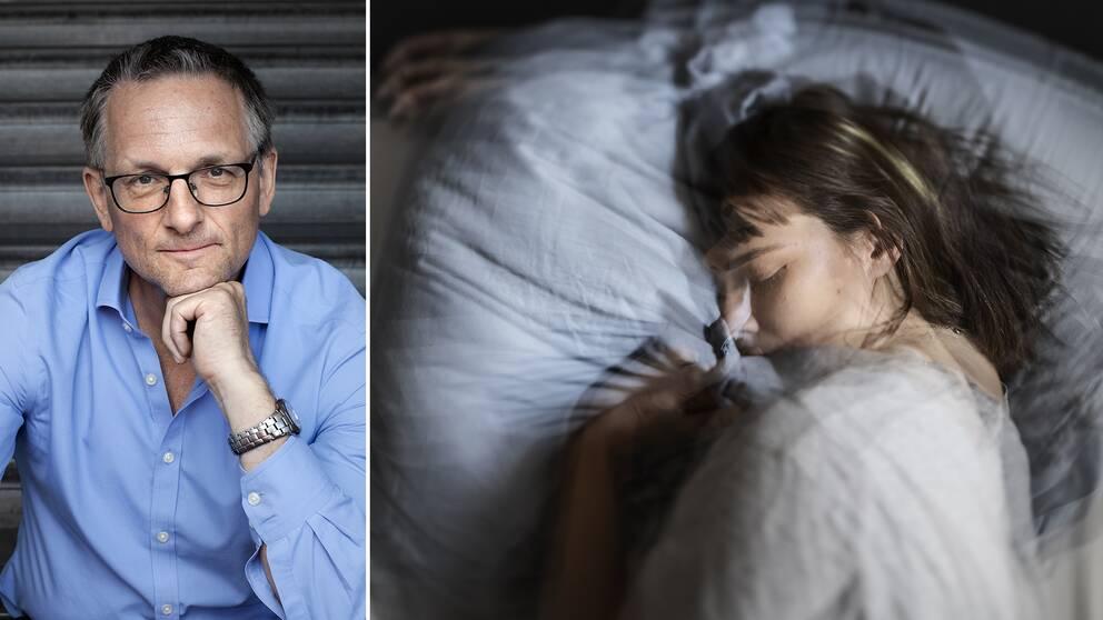 Dr Michael Mosley och en kvinna som sover.