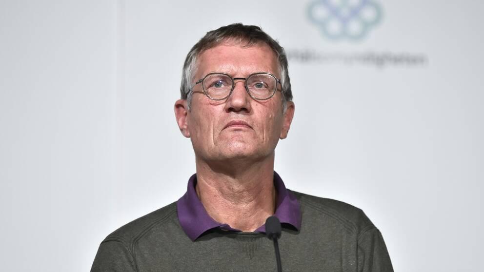 Anders Tegnell, statsepidemiolog, Folkhälsomyndigheten, under tisdagens pressträff om coronaläget.