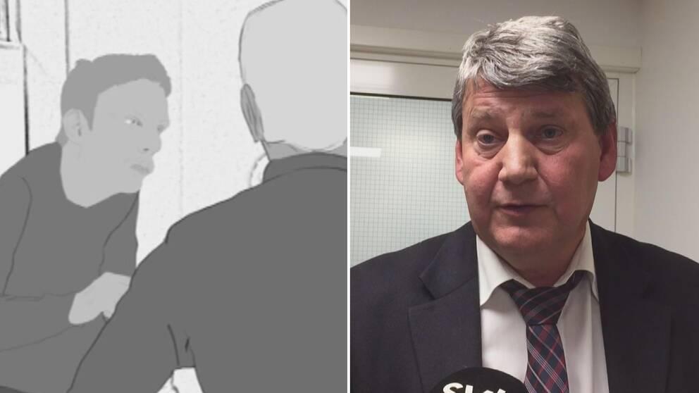 Till höger; Man iklädd kavaj tittar in i kameran. Till vänster: Skissad bild av ung kille.