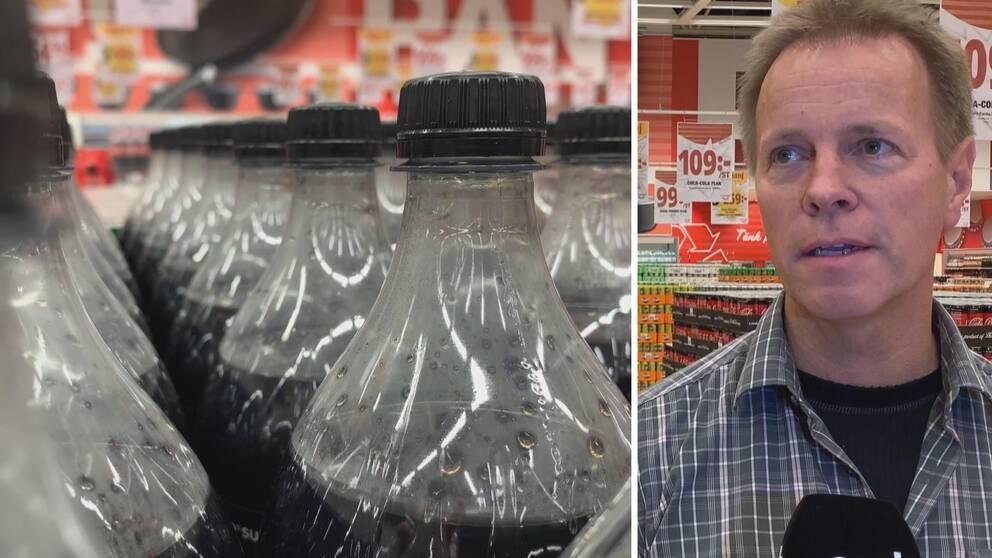 Två bilder. Läskflaskor till vänster och Kaj Hänninen till höger.
