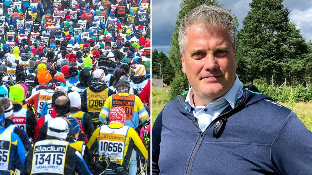 Starten för Vasaloppet 2019 och Vasaloppets vd Johan Eriksson.