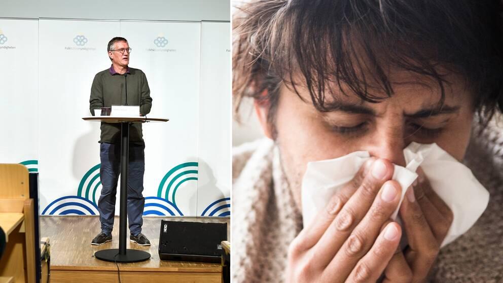 Till vänster Anders Tegnell på presskonferens. Till vänster bild på man som snyter sig.