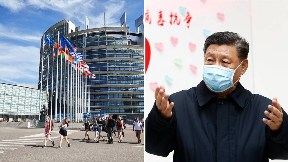 EU-parlamentets byggnad, Kinas president Xi Jinping.