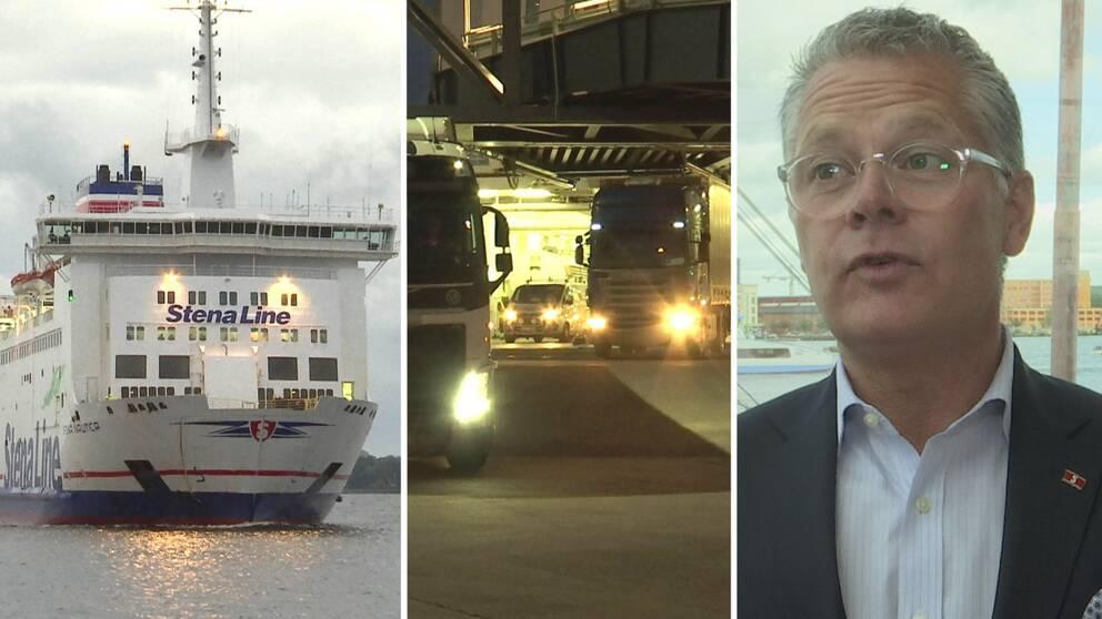 """Niclas Mårtensson, som är vd på Stena Line, menar att det gått bättre för färjelinjen sedan den flyttade från Varberg till Halmstad. """"Vi har gjort det rätta beslutet"""", säger han."""