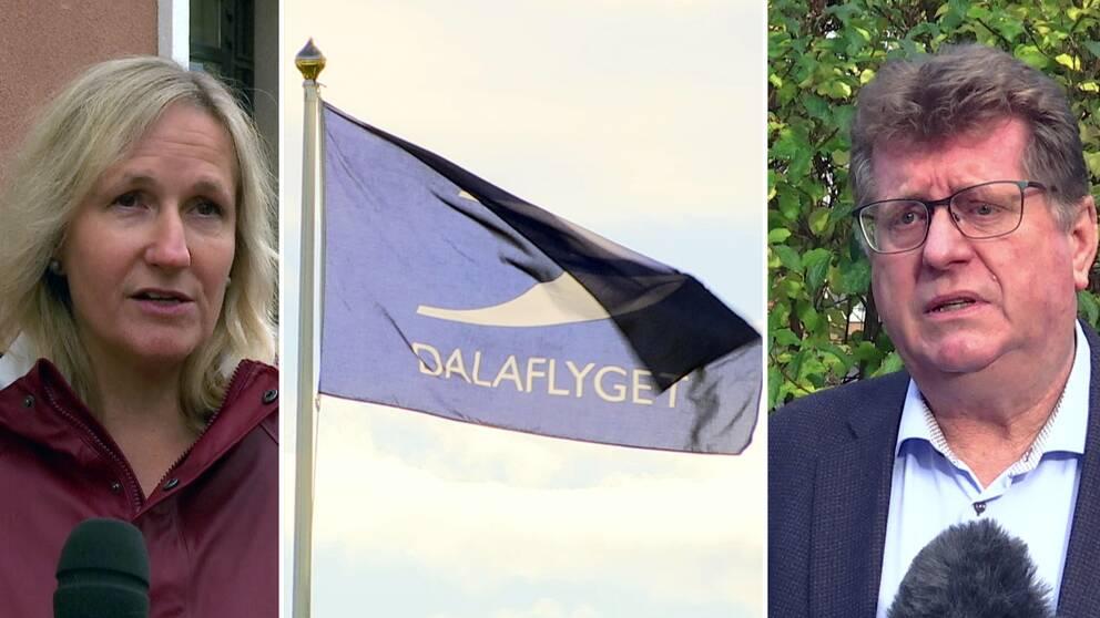 """tredelad bild på en kvinna, flagga med logotyp """"Dalaflyget"""" samt en man"""