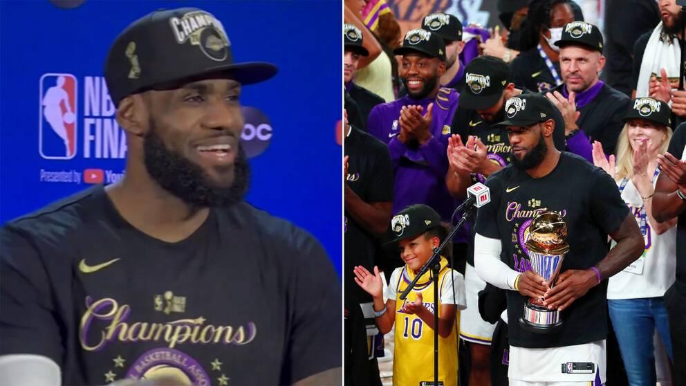 Till vänster, LeBron James vid den sista presskonferensen och till höger direkt efter titeln.