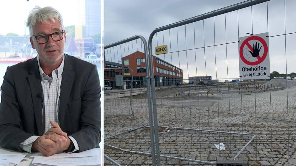 Till vänster i bild Lars Beckman, moderat politiker och ordförande för kommunrevisorerna. Till höger bild på avspärrning vid bygget av Östra Piren.