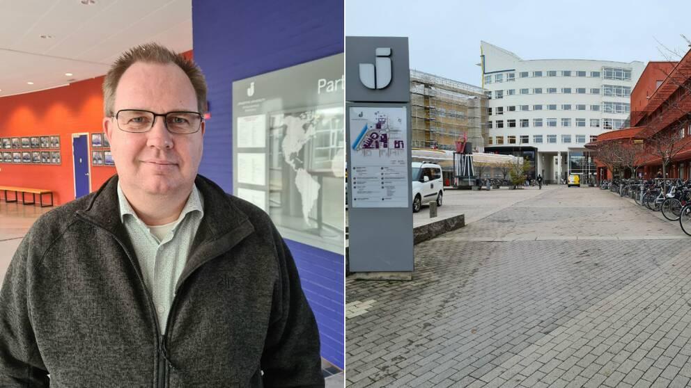 Till vänster Robert Gunnarsson, vicerektor för utbildning på högskolan i Jönköping. Till höger utomhusbild på högskolan i Jönköping.