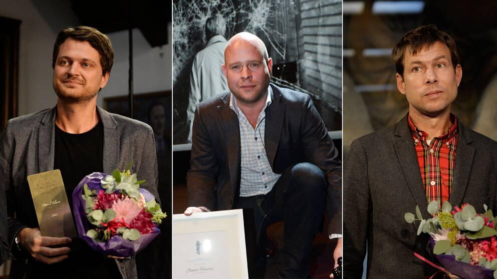 Röda Korsets journalist pris gick till Daniel Velasco, till vänster, Anders Hansson och Niklas Orrenius.