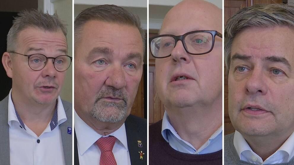 Bild på fyra medelålders män som intervjuas.