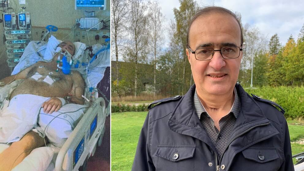 Till vänster Nabeel Faeq Mahdi när han låg i respirator. Till höger Nabeel Faeq Mahdi i dag och numera frisk.