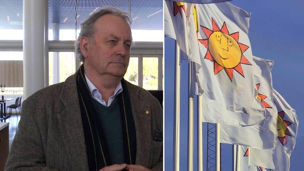 Två bilder. Per-Samuel Nisser till vänster och flaggor med Karlstad kommuns logotyp, solen, till vänster.