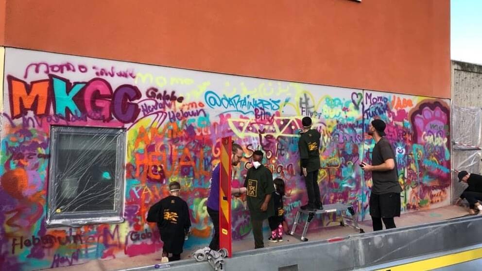 Mjölbybor hjälper till att måla vägg