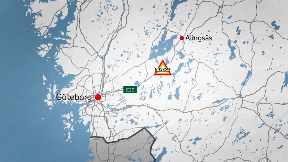 Olyckan inträffade vid Tolleredsmotet, mellan Lerum och Alingsås, under lördagen.