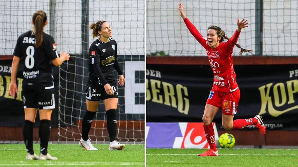 Jubel i Kif Örebro efter mål mot Göteborg. I Göteborg är det deppiga miner.