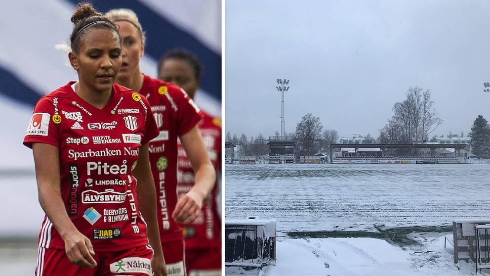 Det är snö i Piteå i dag inför mötet med Eskilstuna.