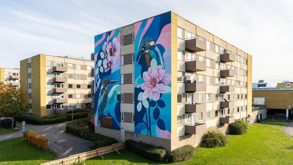 Väggmålning i Linköping av Irene Lopez Leon