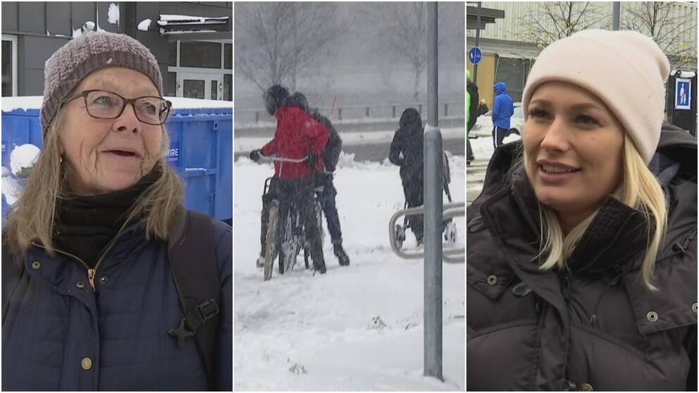 Tre bilder. Två kvinnor på varsin sida. I mitten är det människor som cyklar.