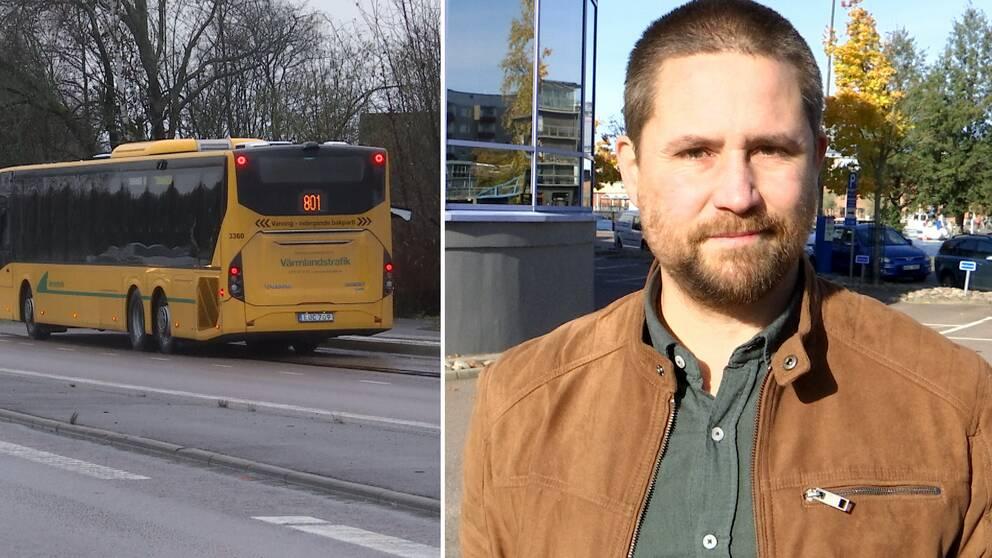 Till vänster buss 801 på vägen, till höger regionrådet Jesper Johansson (MP).