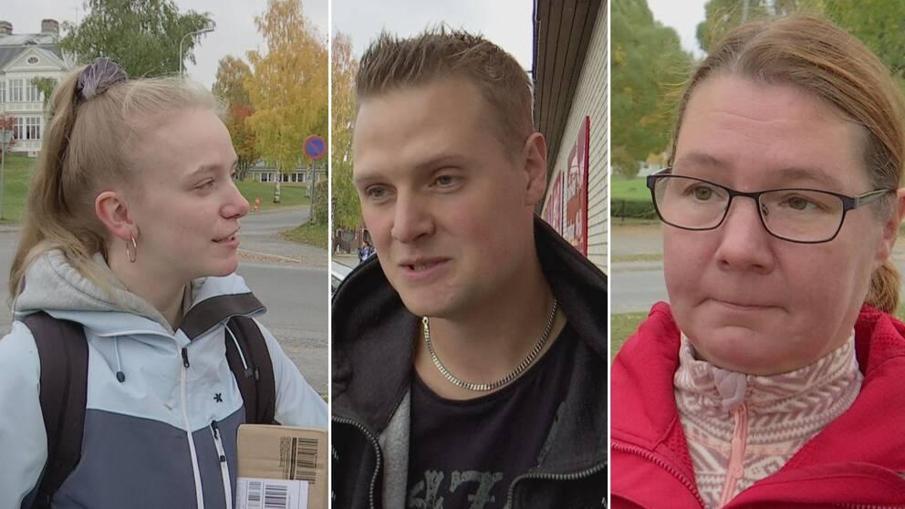 Trippelbild. Längst till vänster Jessika Näslund, blond tjej med uppsatt hår. I mitten Jesper Adamsson, ung man med kort blont hår. Längst till höger Petra Risvall, kvinna med rödaktigt uppsatt hår och glasögon.