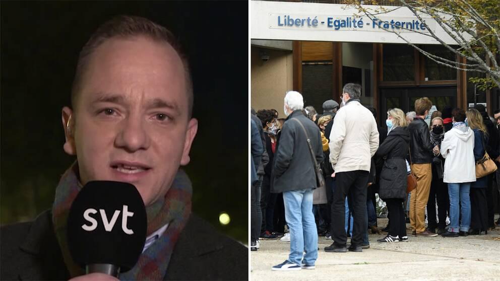 SVT:s Europakorrespondent David Boati/Människor har samlats utanför en skola i Frankrike.