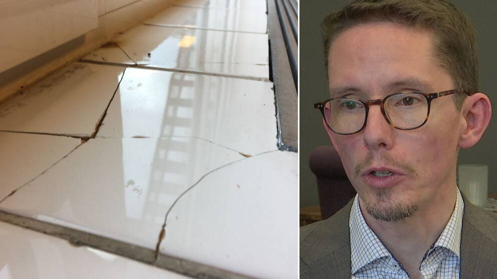 Dubbelbild. Till vänster tät bild på sprucket kakel i Gällö simhall. Till höger Johan Loock (M), man med kort brunt hår och glasögon.