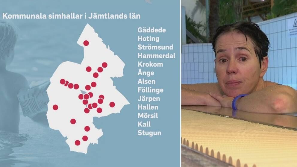 Dubbelbild. Till vänster en karta över Jämtlands län med röda prickar för alla kommunala simhallar. Till höger reporter i en bassäng.