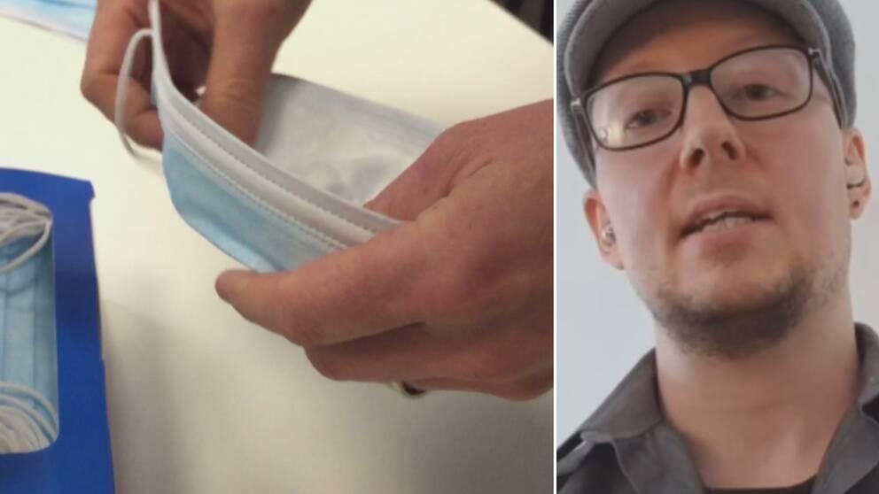 Till vänster: Ett munskydd. Till höger: Man i glasögon tittar in i kameran.