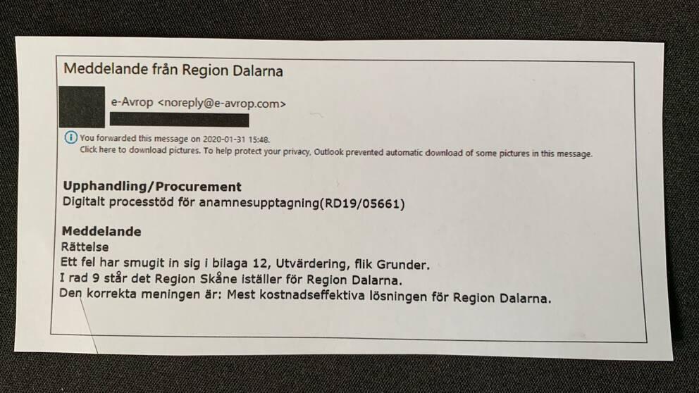 Rättelsen som Region Dalarna mejlade ut samma dag som Vårdexpressen stoppades i Skåne.