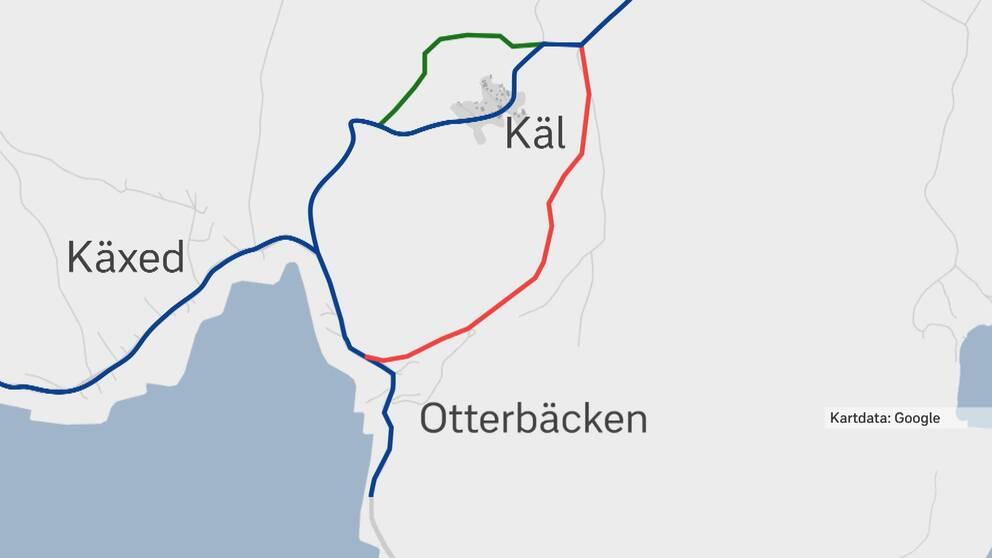 Karta med två nya vägalternativ förbi Käl
