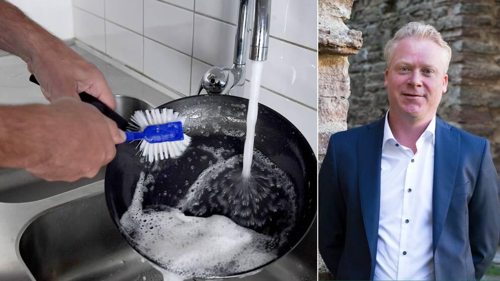 Bilden är ett collage. Den vänstra bilden föreställer ett par händer som diskar en diskpanna under en rinnande vattenkran. Den högra bilden är en porträttbild på Borgholm Energis vd Markus Wertwein-Ros.