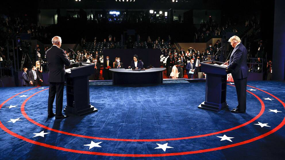 USA:s president Donald Trump och Demokraternas utmanare Joe Biden i den sista debatten inför presidentvalet.