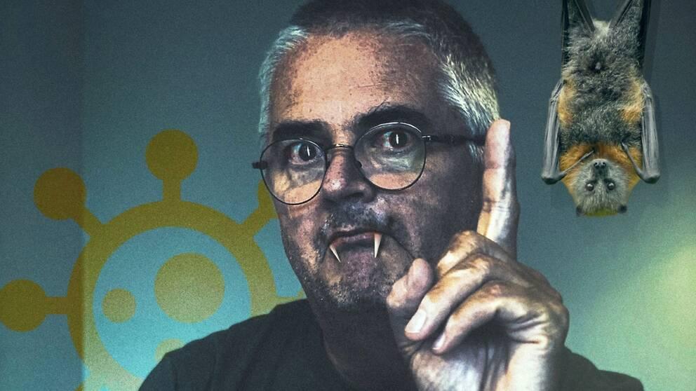 skämtsamt bildkollage på Anders Nystedt: Medelålders man med fingret höjt, han har fått huggtänder, en fladdermus hänger upp och ner på sidan.