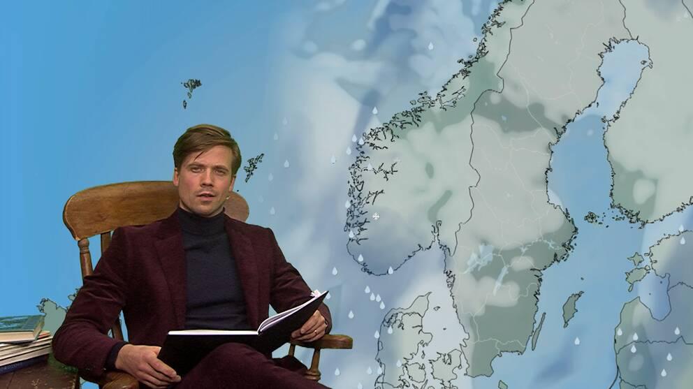 Meteorolog Nils Holmqvist läser bok i vädersändningen.