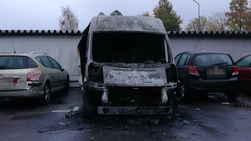 skåpbil brand Ronneby