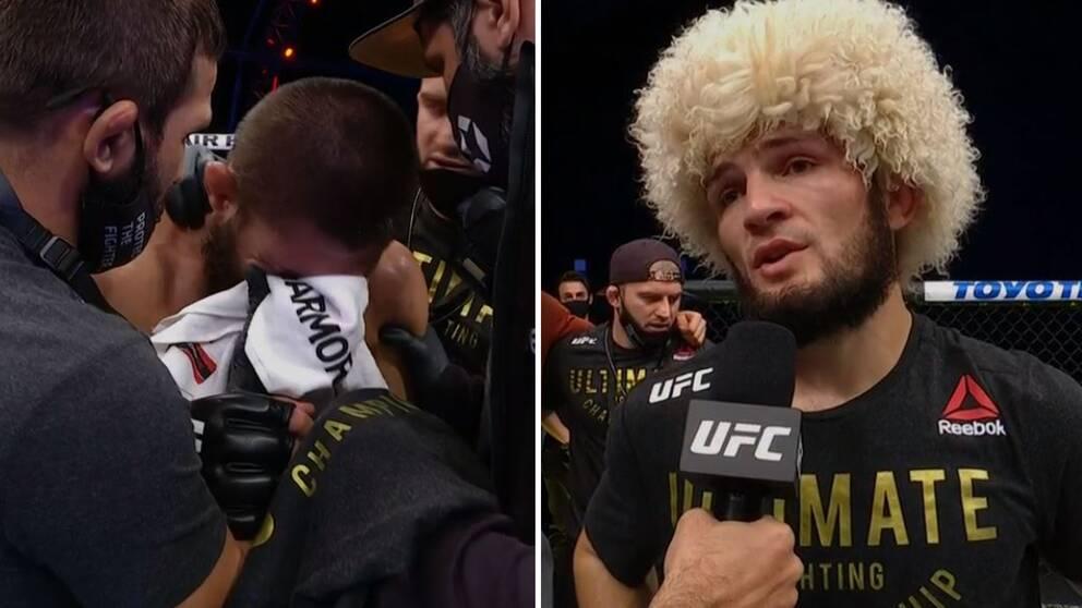 UFC-stjärnan Khabib Nurmagomedov meddelar efter vinsten att han lägger av.